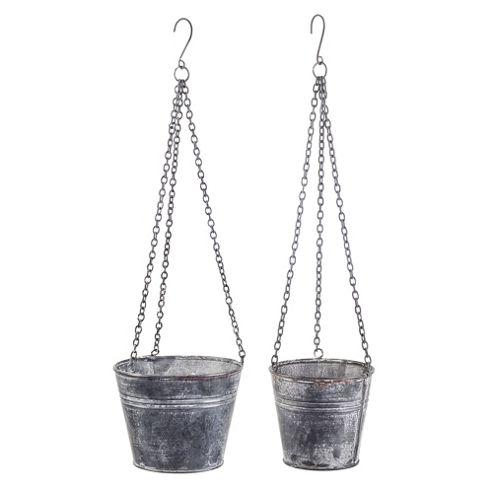 Buy bordeaux set of two grey metal hanging bucket garden for Metal bucket planter