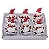 Set of 6 Dark Red Hat Snowmen Christmas Tea Light Candles
