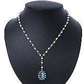 White Glass Pearl Y-Shape Necklace With Blue Cat Eye Oval Pendant In Antique Silver Tone - 38cm Length/ 8cm Extension