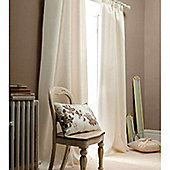 Catherine Lansfield Home Plain Faux Silk Curtains 90x90 (229x229cm) - Cream - Tie backs included