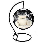 Bentley Garden Black Rattan Pod Hanging Chair