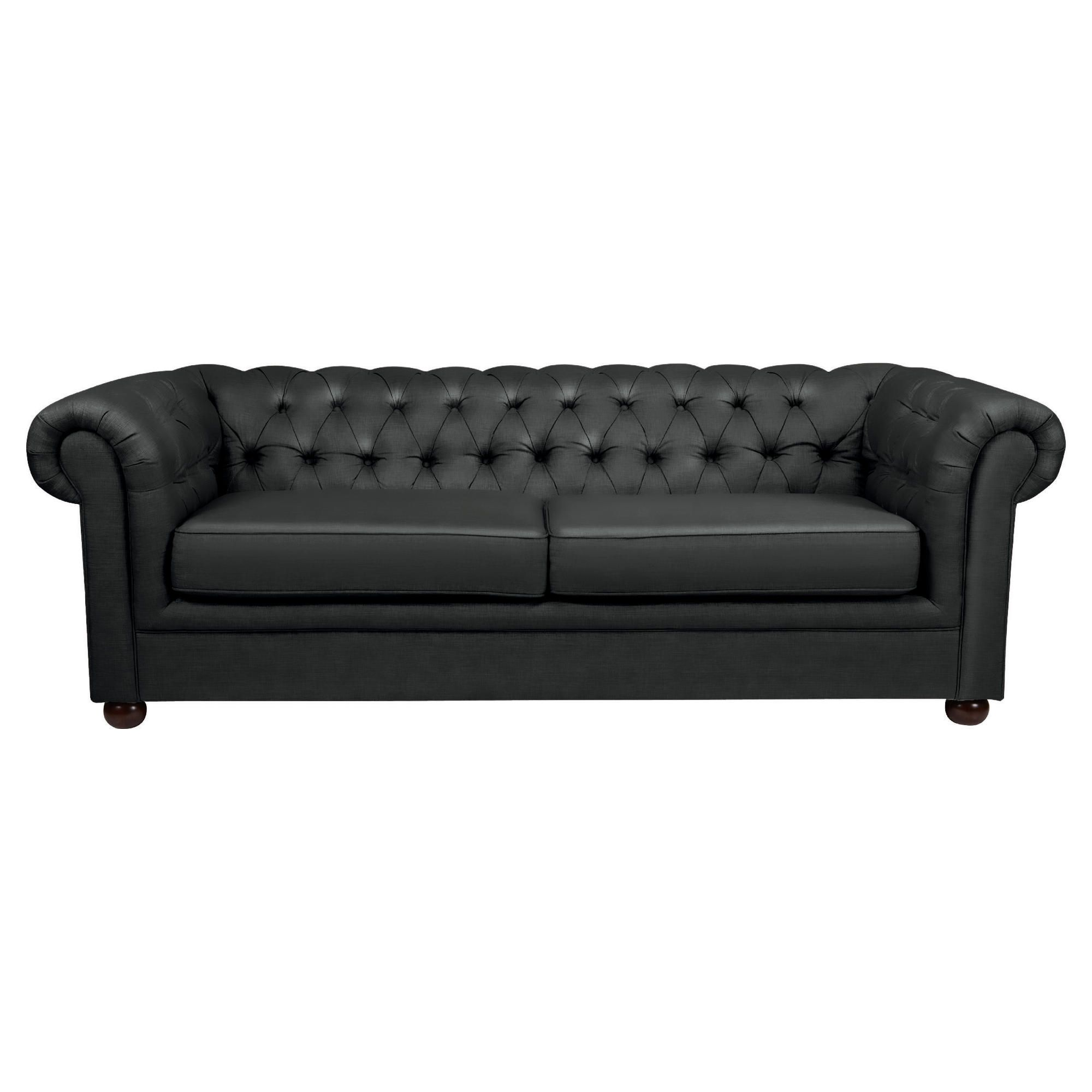 Chesterfield Fabric Sofabed Black, Velvet at Tesco Direct