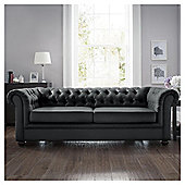 Chesterfield Fabric Sofa Bed Black, Velvet
