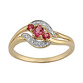 Gemondo 9ct Yellow Gold 0.23ct Natural Tourmaline Three Stone Classic Ring
