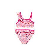 F&F One Shoulder Frill Ice Lolly Print Bikini Set - Pink
