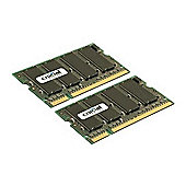 Crucial 2GB (2 x 1GB) PC2-5300 667MHz DDR2 200-pin SO-DIMM CL5 Unbuffered Non ECC Memory Module Kit