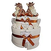 Unisex Twin Baby Giraffe Nappy Cake Gift Hamper