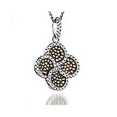 REAL Effect Rhodium Plated Sterling Silver Champagne Cubic Zirconia Night Flower Charm Pendant - 16/18 inch