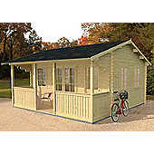 Mercia Garden Products Maine Log Cabin with Double 3/4 Glazed Door