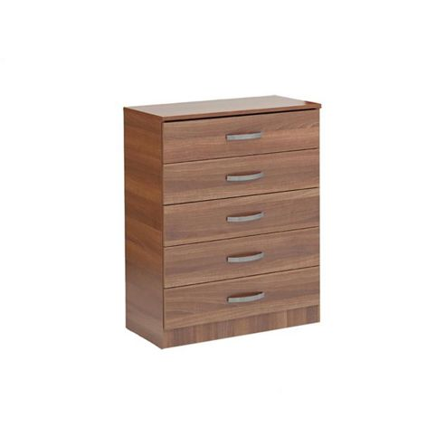 Ideal Furniture Budapest Five Drawer Chest - Walnut