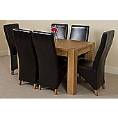 Kuba Chunky Solid Oak 125 cm Dining Table with 6 Black Lola Leather Chairs