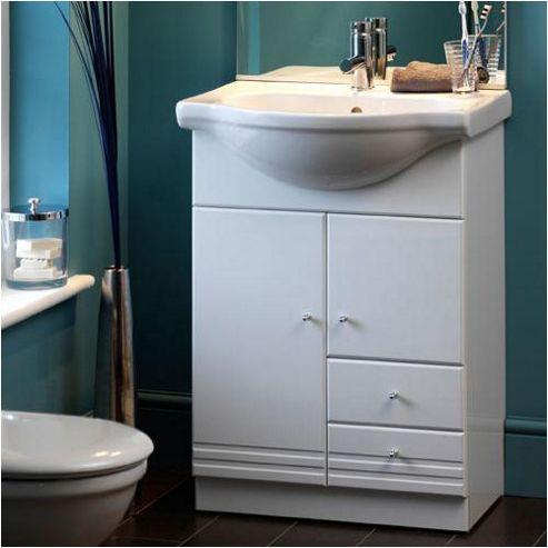 Duchy Treglyn White Floor Standing 2 Door 2 Drawer Vanity Unit and Basin - 600mm Wide x 517mm Deep