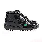 Kickers Kick Hi Patent Infant Toddler Kids School Shoe Boot - Black