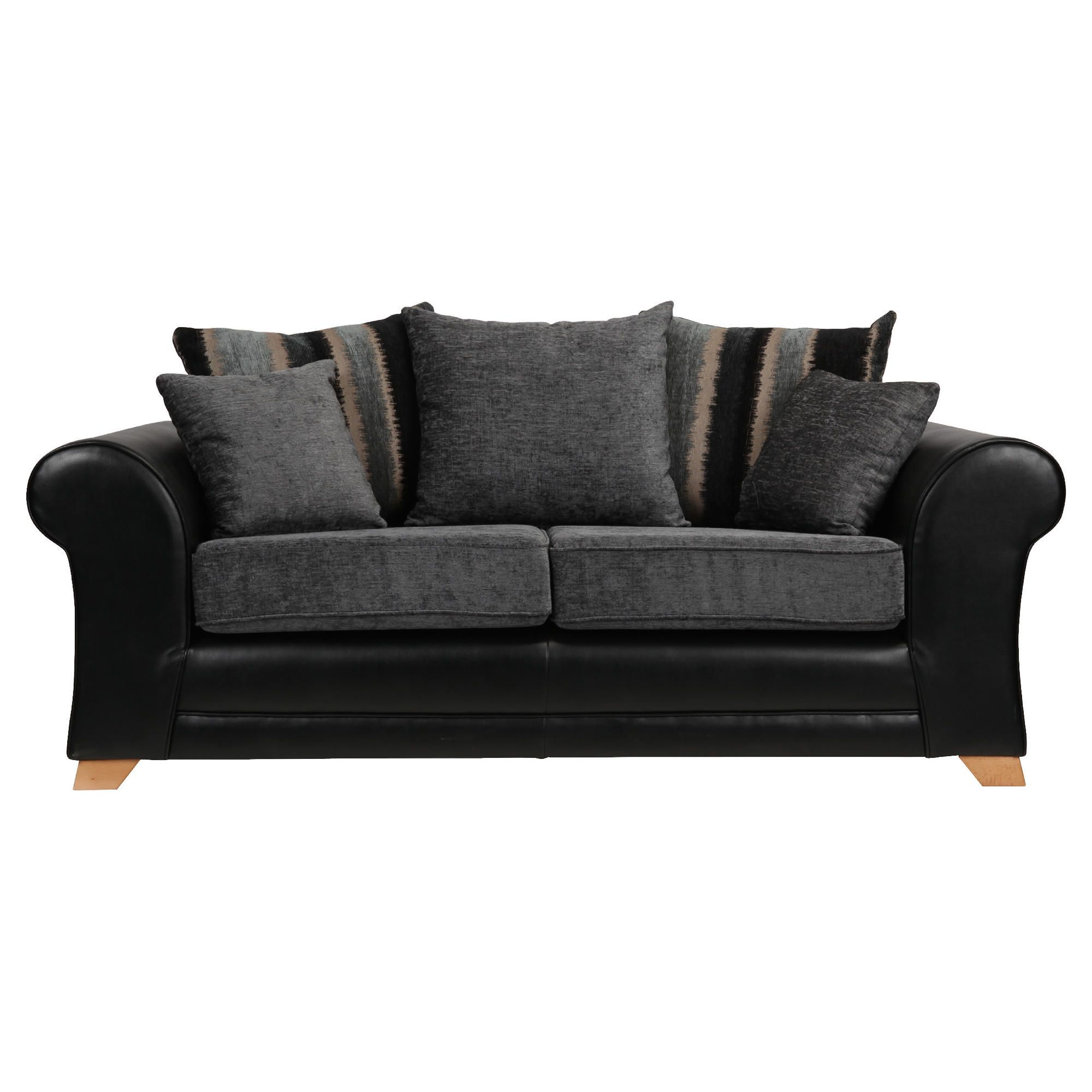 Lima fabric mix medium sofa black and charcoal at Tesco Direct