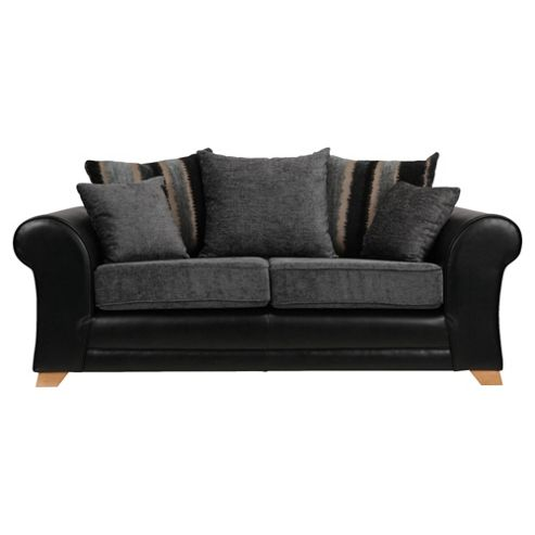 Lima fabric mix Medium 3 Seater sofa black and charcoal