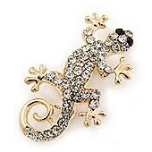 Small Clear Crystal 'Lizard' Brooch In Gold Plating - 3.5cm Length