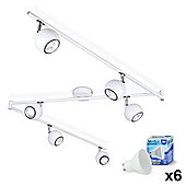 Retro Eyeball Six Way LED Ceiling Spotlight in Gloss White with Daylight GU10 Bulbs