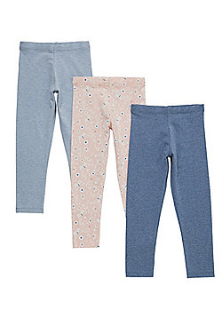 F&F 3 Pack of Plain and Butterfly Print Leggings - Pink & Blue