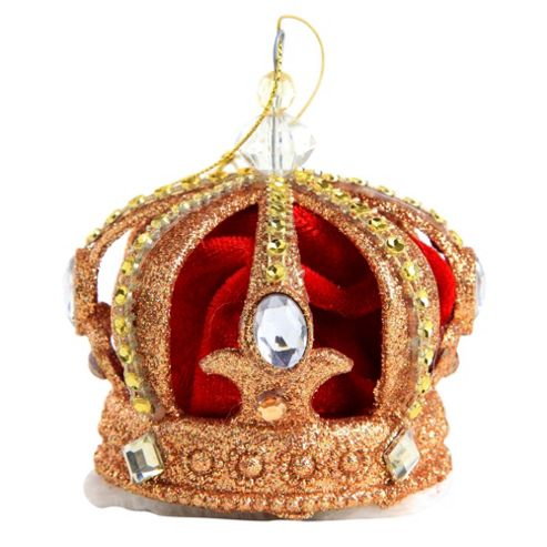 Buy glitter plush red fabric crown christmas tree for Christmas crown decoration