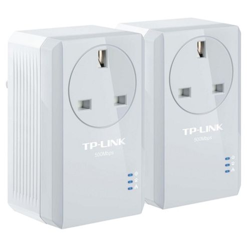TP-LINK 500Mbps Pass-Through Powerline Twin Pack