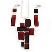 Cherry Red 'Summer Shapes' Necklace & Drop Earrings Set In Matte Silver Plating - 40cm Length/ 7cm Extension