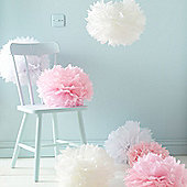 Pack of 9 White Pink & Ivory Tissue Paper Pom Poms