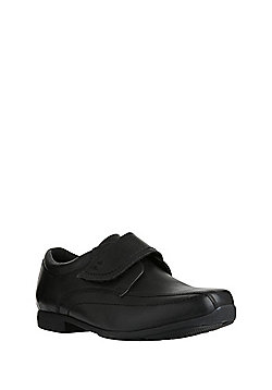F&F Leather School Monk Shoes - Black