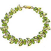 QP Jewellers 6.5in 16.50ct Peridot Butterfly Bracelet in 14K Gold