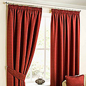 """Homescapes Pencil Pleat Deep Red Curtains with Woven Diamond Detail 90x72"""""""