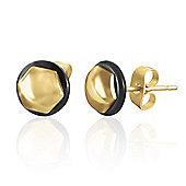 Urban Male Men's Hexagonal Gold Plated Stainless Steel & Rubber Stud Earrings 8mm