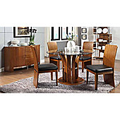 Jual JF601 Walnut Table 4 Chairs and Sideboard