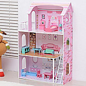 Homcom Large 13PC Furnitures Wooden Doll House Girls Playset Entertainment Toy Game