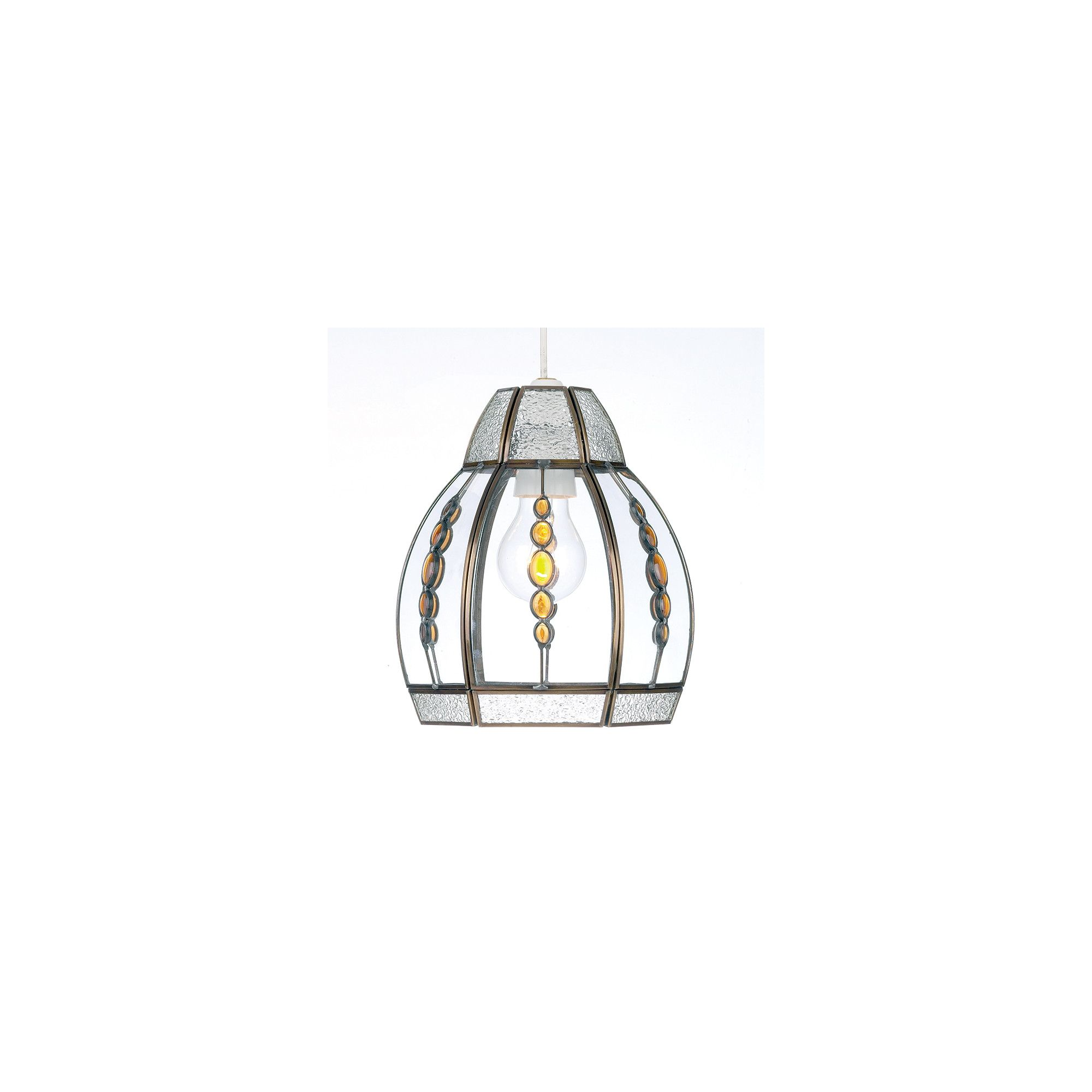 Endon Lighting Pendant in Antique Plated with Amber Beads