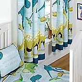 Dinosaur Facts Curtains 72s - Blue - Multi