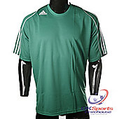 Adidas Squad 11 Climalite Short Sleeve Football Shirt Green / White Stripes - Green & White