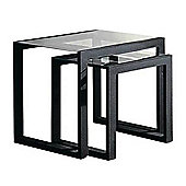 Metal And Glass Nest Of 2 Tables - Black