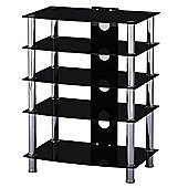 Glass & Stainless Steel TV Media Entertainment Unit HiFi Or 42 Inch TV Stand - Black