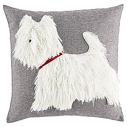 Tesco Fluffy Dog Cushion, Grey