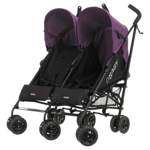 Obaby Apollo Twin Stroller, Black/Purple