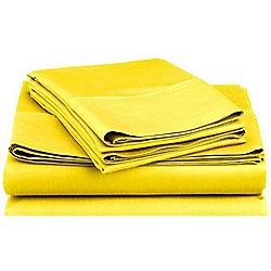 Basics Polycotton Fitted Sheet - Bright Yellow, King Size