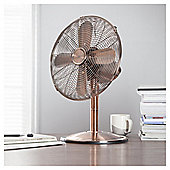 "Tesco 12"" Metal Desk Fan, 3 Speed - Copper"