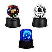 Battery Operated 3 Party Light Pack - Disco Ball + Mirror Ball + LED Police Beacon Light