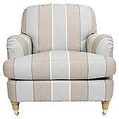 Florence Armchair Linen Effect Stripe, Duckegg