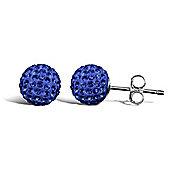 Jewelco London Sterling Silver Crystal 8mm royal blue studs Shamballa Earrings