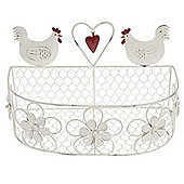 Hen - Decorative Metal Wire Storage Basket - White / Red