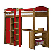 Maximus High Sleeper Set 1 Central Ladder Antique With Red Details