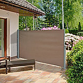 Outsunny Patio Side Awning Retractable Aluminium Frame (3 x 1.8m, Light Brown)