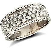 9ct Solid white Gold CZ set rope edged Bombay Ring