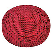 Light Weight Knitted Pouffe Red