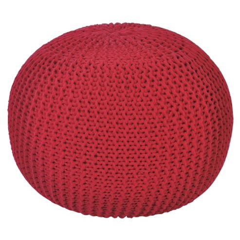 Kaikoo Lightweight Knitted Pouffe, Red